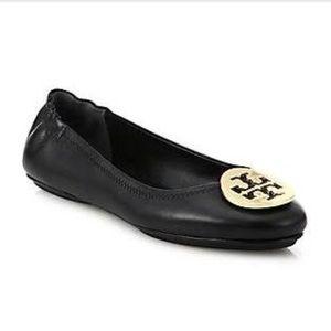 Tory Burch Black Reva Ballet Flats Gold Logo Sz 8